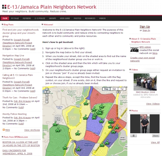 The first prototype of a neighborhood social network I built at Boston Police