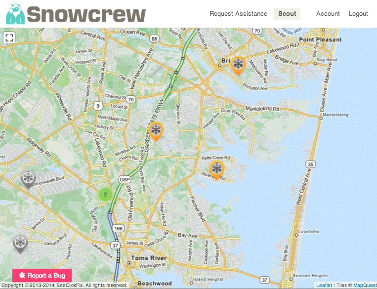 A screen shot of snowcrew.org shoveing assistance requests